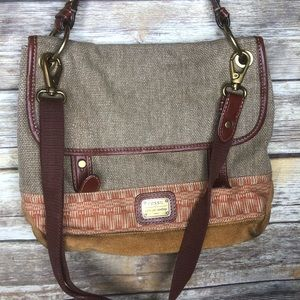 Fossil canvas messenger crossbody satchel purse
